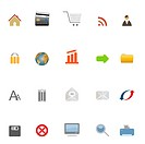Internet, web, e_business and e_commerce icons.Image contains gradients.