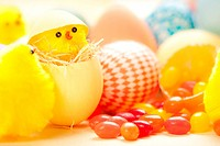 Easter chicks in eggs with jelly beans