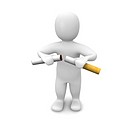 Man breaking cigarette. 3d rendered illustration. Isolated on white.