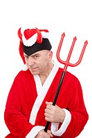 Santa Claus with horns and trident on white background