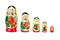 Russian nesting doll on white background