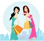 Two women on the shopping. Vector illustration.