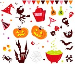Halloween vector icons in red color.