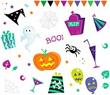 Retro halloween design elements. Vector Illustration.