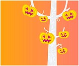 Pumpkin – head tree. Halloween party now begin! Vector Illustration.