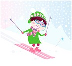 Smiling child on pink ski. Vector Illustration.