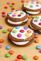 Whoopie pies with colored chocolate buttons