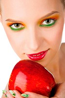 beauty woman with red apple in the hand