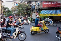 People riding scooters and mopeds, Hanoi, Vietnam