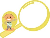 A boy pointing to a magnifying glass