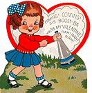 A vintage valentine of a girl with a blowhorn