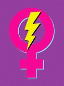 A female symbol with lightning in it