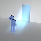 Man thinking about entrance to unknown. 3d rendered illustration.