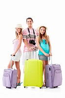 Young people with suitcases on a white background