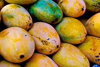Fresh mango in market closeup background