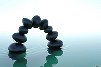 Arch zen stones in zen water on white background