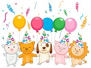 Birthday Animals holding Balloons _ Vector