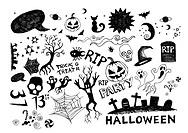 Halloween doodles vector.
