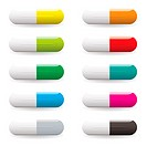 Collection of ten multi coloured medical pills with drop shadow