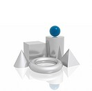 3D simple shapes blue and silver series