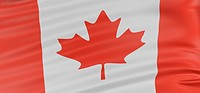 3D Canada Flag with fabric surface texture. White background.