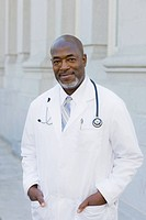 Doctor Standing Outside With Stethoscope Around Neck