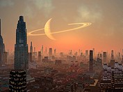Hot summer night with smog filled apricot sky backdrop to a futuristic alien city.We look across the brightly lit metropolis to the ring planet in orb...