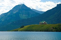 The historic Prince of Wales Hotel sits on a bluff overlooking Waterton Lake in Waterton Lakes National Park.