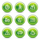 Travel web icons set 3, green glossy circle buttons series