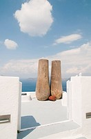Two big pots on Santorini island, beautiful view