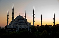 The famous Blue Mosque of Istanbul, Turkey in great sunset