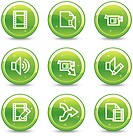 Audio video editing web icons, green glossy circle buttons series