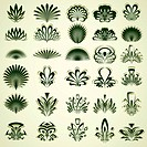 Vintage floral and ornamental decor for your layout. Useful and beautiful abstract symbols vector set.
