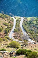 rural road curve at valley of jerte in caceres spain