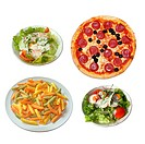 set of food _ pizza, salat and pasta