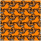 Black pattern on an orange background. Seamless vector pattern.