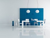 minimalist blue dining room with modern table and chair _ rendering