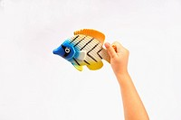 Baby holding fish on white background