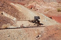 Ore cart and mine rail line in a California ghost town