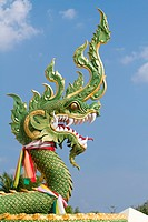 traditional buddhist green dragon sculpture, krabi, thailand