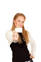 blonde girl holding a business card isolated on white background