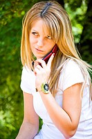 beautiful young model talking on phone
