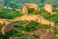The ruins of the Tughlaqabad Fort in New Delhi, India