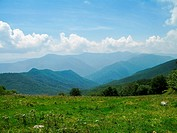 View of Smoky Mountains from Hemphill Bald trail.