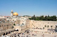 View of the Temple Mount in Jerusalem, including the Western Wall and the golden Dome of the Rock