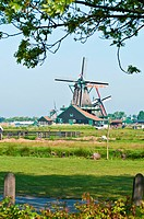 Traditional Old Windmill in Zaanse Schans, Netherlands