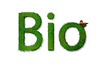 The word bio made out of grass with a butterfly. The isolated text is against a white background.