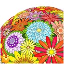 Editable vector illustration of a large bunch of mixed flowers
