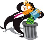 A businessman throwing money away