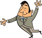 A businessman with his arms up